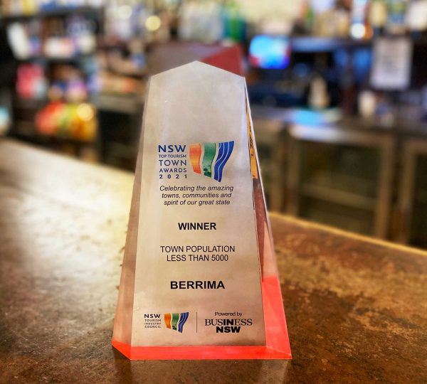 Glass award for NSW Top Tourism Town Winner under 5000 residents